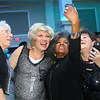 Mike McKibben, one of the women of the Little Black Dress event, takes a selfie with attendees of the annual event at Bel Air on Friday, May 3, 2019, to benefit the Domestic Violence Shelter.<br /> Kelly Lafferty Gerber   Kokomo Tribune