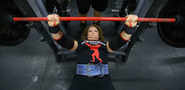 Jessica Rush, who recently won a women's strongman event in Florida, working out at One More Gym on Wednesday Nov. 13, 2019. <br /> Tim Bath | Kokomo Tribune