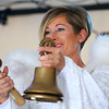 Gabrielle Bassile, Christkind angel, rings the bell to start off the first-ever Peru Christkindlmarkt on Friday, November 29, 2019.<br /> Kelly Lafferty Gerber | Kokomo Tribune