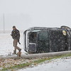 A single car rollover accident at 100 South and 600 East on Monday Nov. 11, 2019. The only person in the car was the driver who sustained only minor injures and refused medical treatment. <br /> Tim Bath   Kokomo Tribune