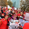 About 15,000 educators gathered at the Indiana Statehouse in Indianapolis on Tuesday Nov. 19, 2019. The gathering on the south side was highlighted by an address from  Keith Gambill, president of the Indiana State Teachers Association. A march through downtown then about 6,000 gathered inside to continue the rally as the state legislature meets.<br /> Tim Bath | Kokomo Tribune