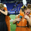 Faith Abbott hugs a fellow bandmember after the Lewis Cass Marching Kings are named ISSMA Class D marching band state champions on Saturday, November 9, 2019. <br /> Kelly Lafferty Gerber | Kokomo Tribune