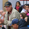 As veterans are honored WWII veteran Eugene Downs stands at the Central Middle School Veterans Day Program on Monday Nov. 11, 2019.<br /> Tim Bath   Kokomo Tribune