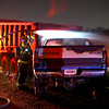 A Dodge pickup caught fire after slamming into the back of a dump truck on 50 South between 200 and 300 West around 6 p.m. on Sunday Nov. 17, 2019. The driver fled the scene and was not located till the next morning. He was located in a patch of tall grass sleeping on the Martin Marietta property. A search continued on Monday morning for a woman that he said was with him.<br /> Tim Bath | Kokomo Tribune