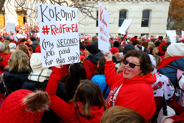 About 15,000 educators gathered at the Indiana Statehouse in Indianapolis on Tuesday Nov. 19, 2019. Kokomo teachers Kelcey Myers and Joybeth Bryan gathering on the south side. Gathering highlighted by an address from  Keith Gambill, president of the Indiana State Teachers Association. A march through downtown then about 6,000 gathered inside to continue the rally as the state legislature meets.<br /> Tim Bath | Kokomo Tribune
