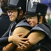 Samantha Hawks, left, and Savannah Archer celebrates together after the Lewis Cass Marching Kings are named ISSMA Class D marching band state champions on Saturday, November 9, 2019. <br /> Kelly Lafferty Gerber | Kokomo Tribune