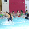 Making the simple learning more fun is part of what the Taylor Elementary kindergarten students do while learning to swim at the YMCA on Thursday Nov. 14, 2019.<br /> Tim Bath | Kokomo Tribune