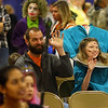 Mia Burns, 13, dressed as a headless woman, and her dad Ryan Burns wave at their family on the stage for the costume contest during the Kids Community Halloween Party at the Kokomo Event Center on Saturday, October 26, 2019.<br /> Kelly Lafferty Gerber | Kokomo Tribune