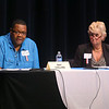 Ray Collins, left, and Cathy Cox-Stover, discuss issues during the Kokomo Common Council's Third District debate on Thursday, October 3, 2019.<br /> Kelly Lafferty Gerber   Kokomo Tribune