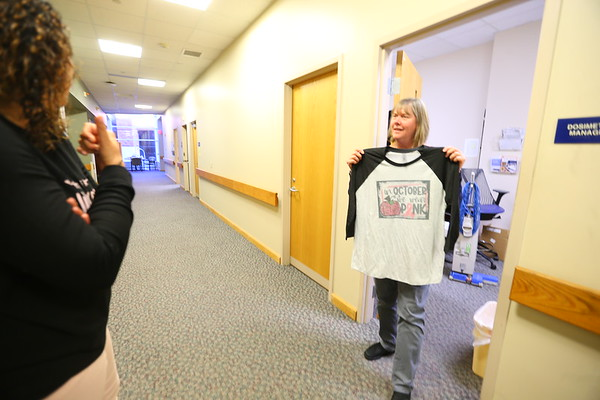 Cindy Hendrix in the St. Vincent Cancer Center on Oct. 9, 2019. This newest addition to the treatment facility is where Cindy spent 28 days getting radiation treatments.<br /> Tim Bath | Kokomo Tribune