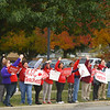 Kokomo Teachers Association members and supporters rally outside of the Kokomo School Corporation Administrative Services Center during the second round of contract negotiations on Thursday, October 24, 2019.<br /> Kelly Lafferty Gerber | Kokomo Tribune