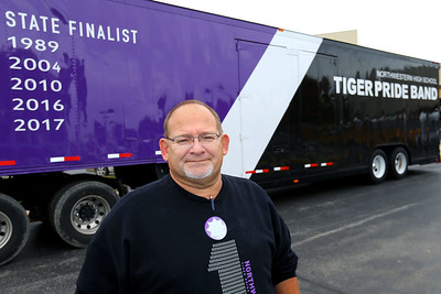 Truck driver Randy Schroeder has volunteered to pull the band truck trailer for the past 19 years on Oct. 25, 2019. Tim Bath | Kokomo Tribune