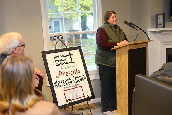 Anna Brown, the new director of Watered Garden, Kokomo Rescue Mission's new women's shelter on 319 W. Taylor Street, speaks at the dedication of the facility on Wednesday, October 30, 2019.<br /> Kelly Lafferty Gerber | Kokomo Tribune