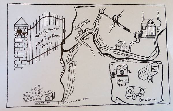 Hand drawn directions with a map of Westleigh Farms in Peru, Indiana, that Kate Porter, Cole Porter's mother, would send to guests at her parties.<br /> Kelly Lafferty Gerber   Kokomo Tribune