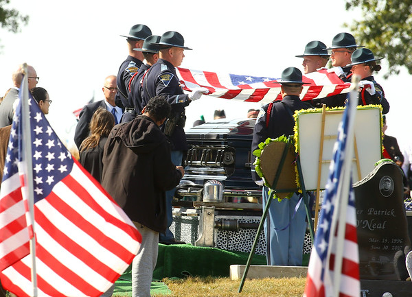 """The American flag is folded over the casket of Indiana State Trooper Peter """"Bo"""" Stephan, who was laid to rest at Russiaville Cemetery on Friday, October 18, 2019. Stephan died Oct. 11 in a car crash on Old Indiana 25 southwest of Americus. He was responding to a call when he lost control of his car.<br /> Kelly Lafferty Gerber   Kokomo Tribune"""