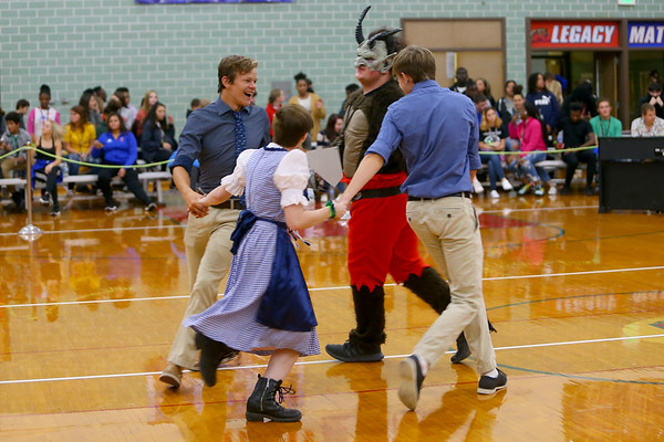 Kokomo High School student learn about culture and dance from around the world at the Culture Festival on Oct. 7, 2019. Krampus, a traditional German monster, dances a traditional German dance with other students.<br /> Tim Bath | Kokomo Tribune