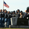 """Law enforcement lines up in Russiaville Cemetery, where Indiana State Trooper Peter """"Bo"""" Stephan was laid to rest on Friday, October 18, 2019. Stephan died Oct. 11 in a car crash on Old Indiana 25 southwest of Americus. He was responding to a call when he lost control of his car.<br /> Kelly Lafferty Gerber 