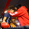 """Sieyumbe """"Coach Law"""" Arrington, right, gives words of encouragement to 14-year-old Elijah Merriweather after a bout at IronFist Boxing Club on Wednesday, October 16, 2019.<br /> Kelly Lafferty Gerber 