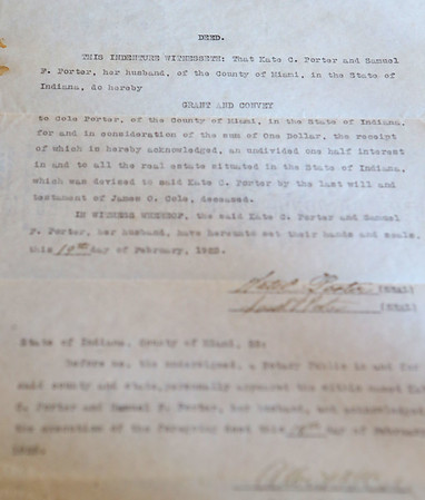 The original deed to Westleigh Farms in Peru, Indiana.<br /> Kelly Lafferty Gerber   Kokomo Tribune