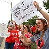 Kokomo Schools teachers picket in front the school administration building on south Washington during contract negotiations on Thursday Oct. 10, 2019. Haynes Elementary teachers Tina Hahn, Jessica DeFeo and Alyssa Hawkins gets people to honk as they drive by.<br /> Tim Bath | Kokomo Tribune