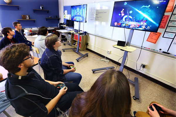 The student participate in the Gaming club at Kokomo High School on Oct. 8, 2019. Ethan Martin, Devais Stone and Cameron Hogan play on the far setup while Noah Parslow, Jeshua Brouff and Skyler Ridenour play on the right setup.<br /> Tim Bath | Kokomo Tribune