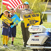 """Community members show their support along the procession route in Russiaville for Indiana State Trooper Peter """"Bo"""" Stephan on Friday, October 18, 2019. Stephan died Oct. 11 in a car crash on Old Indiana 25 southwest of Americus. He was responding to a call when he lost control of his car.<br /> Kelly Lafferty Gerber 