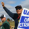 Mike Stephens, who has worked at GM since 2006, pickets with fellow employees outside the plant on Indiana 931, on Tuesday, October 15, 2019.<br /> Kelly Lafferty Gerber | Kokomo Tribune