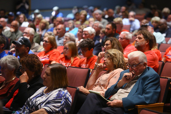 Community members fill IUK's Havens Auditorium on Thursday evening to listen to mayoral candidates Tyler Moore and Abbie Smith on September 26, 2019.<br /> Kelly Lafferty Gerber | Kokomo Tribune