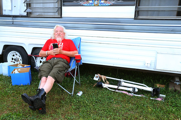 """Ron Wilson from Hobart, Indiana, says """"he loves it here,"""" at the Vietnam Veterans Reunion on Saturday morning Sept. 21, 2019.<br /> Tim Bath 