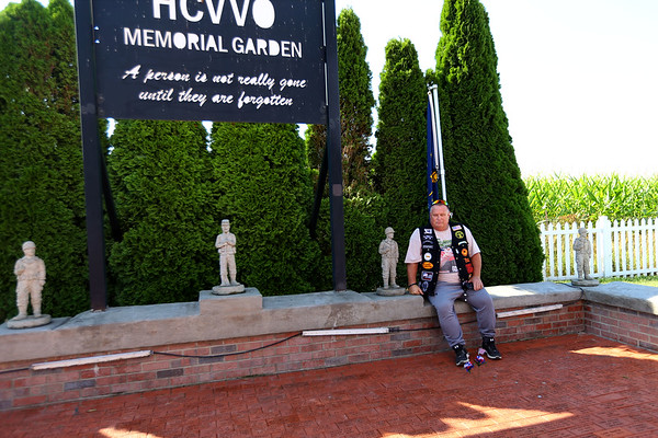 Mike Fitzgerald from Sellersburg, Indiana  stops in the HCVVO Memorial Garden at the annual Vietnam Veterans Reunion on Sept. 19, 2019.<br /> Tim Bath | Kokomo Tribune