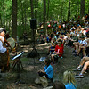 Organizer Bob Auth plays music for the kids while they finish their lunches and before the battle begins. Over a thousand 4th graders participate in Koh-Koh-Mah & Foster Living History Encampment on Sept. 20, 2019. The event is open to the public on Saturday and Sunday at 9912 West, 100 South, Russiaville.<br /> Tim Bath | Kokomo Tribune