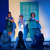 Mamma Mia! being performed by Kokomo Civic Theatre at IUK's Havens Auditorium on Sept. 20-22. Dress rehearsal on Sept. 16, 2019. Best friends Tonya(Claire Cooper), Donna(Beth Metcalf) and Rosie(Peggy Frye) perform as Donna and the dynamos at Sohie's bachelorette party.<br /> Tim Bath | Kokomo Tribune