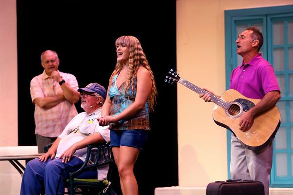 Mamma Mia! being performed by Kokomo Civic Theatre at IUK's Havens Auditorium on Sept. 20-22. Dress rehearsal on Sept. 16, 2019. Sohie(Reilley Cassna) sings with her three dads Sam(Russ Hawkins), Bill(Doug Harvey) and Harry(Greg DeMaio).<br /> Tim Bath | Kokomo Tribune