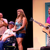 Mamma Mia! being performed by Kokomo Civic Theatre at IUK's Havens Auditorium on Sept. 20-22. Dress rehearsal on Sept. 16, 2019. Sohie(Reilley Cassna) sings with her three dads Sam(Russ Hawkins), Bill(Doug Harvey) and Harry(Greg DeMaio).<br /> Tim Bath | Kokomo Tribune