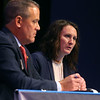 Mayoral candidate Abbie Smith, right, discusses the city's issues as she and fellow mayoral candidate Tyler Moore participate in Thursday night's debate at Havens Auditorium on September 26, 2019.<br /> Kelly Lafferty Gerber | Kokomo Tribune