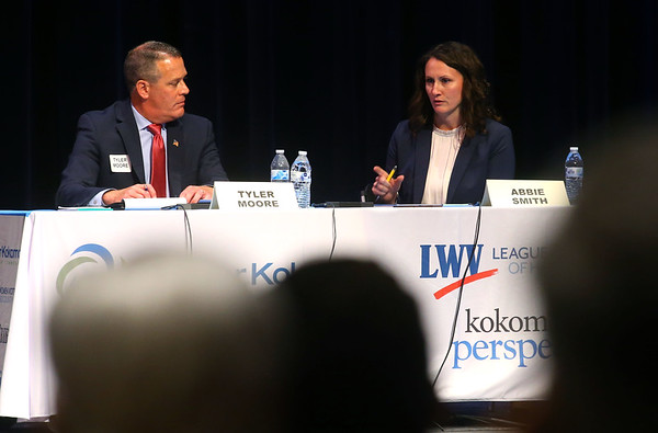 Mayoral candidates Tyler Moore, left, and Abbie Smith participate in Thursday night's debate at IUK's Havens Auditorium on September 26, 2019.<br /> Kelly Lafferty Gerber | Kokomo Tribune