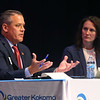 Mayoral candidate Tyler Moore, left, discusses issues facing the city as he and fellow mayoral candidate Abbie Smith participate in Thursday night's debate at IUK's Havens Auditorium on September 26, 2019.<br /> Kelly Lafferty Gerber | Kokomo Tribune