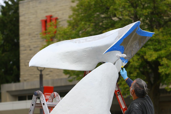 The Phoenix sculpture in front of IUK getting a facelift on Sept. 27, 2019. <br /> Tim Bath | Kokomo Tribune