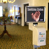 Shirley & Stout Funeral Home on Lincoln Road on Wednesday, April 1, 2020, has set up a hand sanitizing station in the lobby for those who come in.<br /> Kelly Lafferty Gerber | Kokomo Tribune