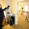 Funeral director Brian Riffe sets up webscasting for an upcoming funeral at Shirley & Stout Funeral Home on Lincoln Road on Wednesday, April 1, 2020. The chairs for the family have also had to be spaced apart.<br /> Kelly Lafferty Gerber | Kokomo Tribune
