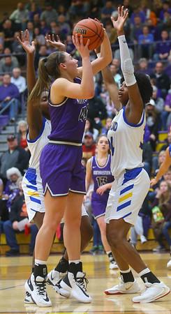2-15-20<br /> Northwestern vs Homestead girls basketball regional championship<br /> Kendall Bostic shoots.<br /> Kelly Lafferty Gerber   Kokomo Tribune