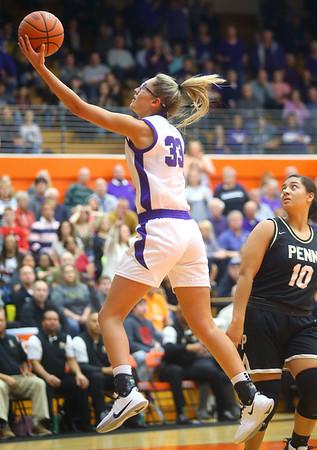 2-22-20<br /> Northwestern vs Penn girls basketball semistate<br /> NW's Madison Layden puts up a shot.<br /> Kelly Lafferty Gerber | Kokomo Tribune