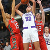 2-29-20<br /> Northwestern vs Lawrence North girls basketball state finals<br /> Madison Layden puts up a shot.<br /> Kelly Lafferty Gerber | Kokomo Tribune