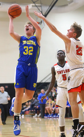 2-28-20<br /> Taylor vs Tri-Central boys basketball<br /> Tri-Central's Jake Chapman puts up a shot.<br /> Kelly Lafferty Gerber | Kokomo Tribune
