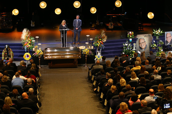 Funeral for Jeff Stout at Crossroads Community Church on February 14, 2020. Jeff's wife Tami talks about him.<br /> Tim Bath   Kokomo Tribune