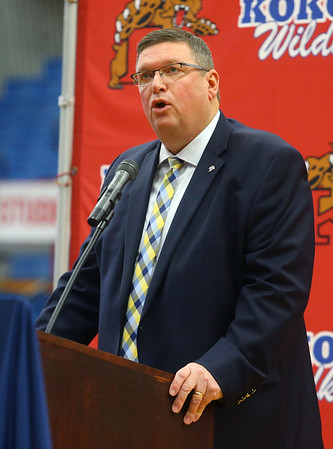 """IHSAA Assistant Commissioner Chris Kauffman speaks during a special ceremony inside Memorial Gym on Thursday, Feb. 6, when the City of Kokomo announced the honorary renaming of West Superior Street leading to Memorial Gym """"Jimmy Rayl Boulevard.""""<br /> Kelly Lafferty Gerber 