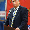 "IHSAA Assistant Commissioner Chris Kauffman speaks during a special ceremony inside Memorial Gym on Thursday, Feb. 6, when the City of Kokomo announced the honorary renaming of West Superior Street leading to Memorial Gym ""Jimmy Rayl Boulevard.""<br /> Kelly Lafferty Gerber 