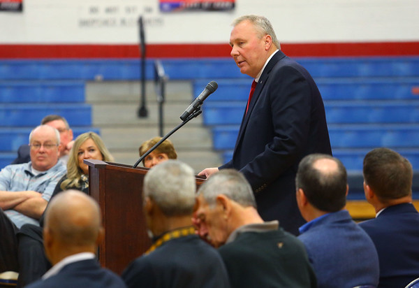 """Indiana University Assistant Athletic Director Mark Deal speaks during a special ceremony inside Memorial Gym on Thursday, Feb. 6, when the City of Kokomo announced the honorary renaming of West Superior Street leading to Memorial Gym """"Jimmy Rayl Boulevard.""""<br /> Kelly Lafferty Gerber 