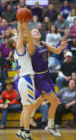 2-15-20<br /> Northwestern vs Homestead girls basketball regional championship<br /> Klair Merrell puts up a shot.<br /> Kelly Lafferty Gerber | Kokomo Tribune