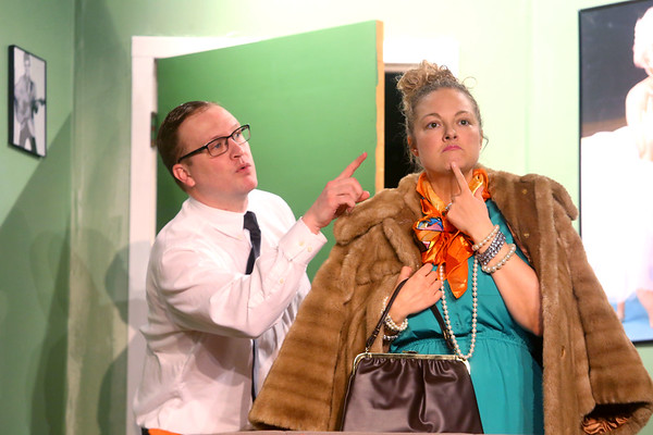 """Colburn Lambert, playing Buddy Baker, acts out a scene with his character's mom Mrs. Baker, played by Samantha DeTurk Grudzien, during dress rehearsal for Ole Olsen's """"Come Blow Your Horn"""" on Tuesday, Feb. 25, 2020.<br /> Kelly Lafferty Gerber 